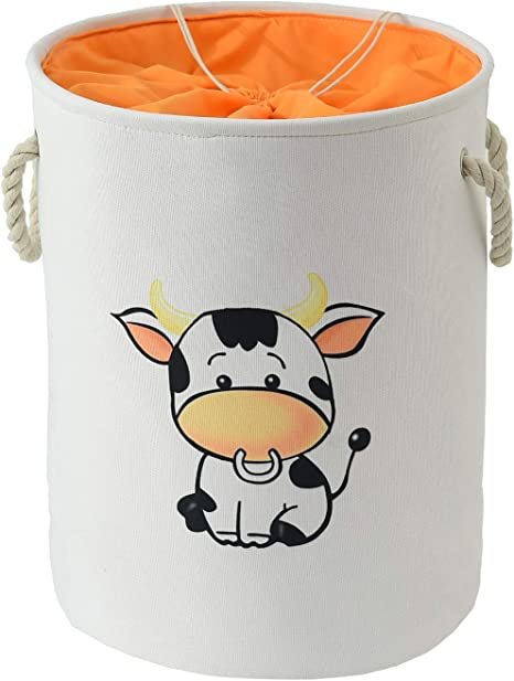 Amazon Com Inough Nursery Hamper Large Laundry Basket Baby Hamper Cow Storage Basket Toy Storage Organizer Drawstring Round Cotton Linen Collapsible Storage Basket For Kid S Room Valentines Day Gifts Cow Home Kitchen