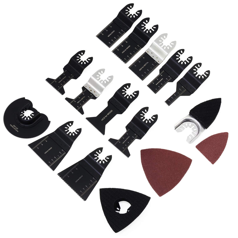 HSeaMall Kit de cuchillas de sierra oscilante de carburo 6 piezas Bosch Accesorios de herramientas mú ltiples Hojas de sierra para azulejo de lechada Dremel Mortero de hormigó n (14PCS)