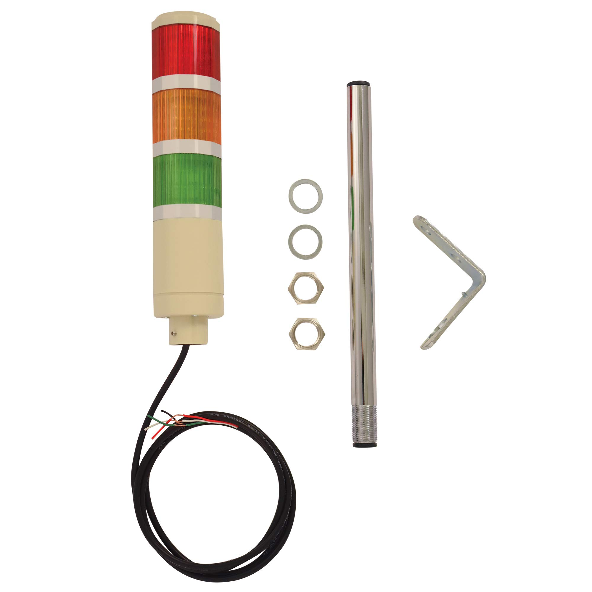 Signaworks 3 Stack LED Tower Light,24VDC, Steady On, Red/Amber/Green, 12 inch Threaded Pole, Right Angle Bracket, 5 Foot Pre-Wired Leads (24V AC/DC)