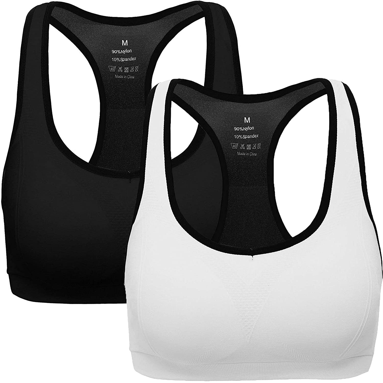 ANGOOL Women's Sports Bra Padded High Impact Racerback Comfy Yoga Workout Bra