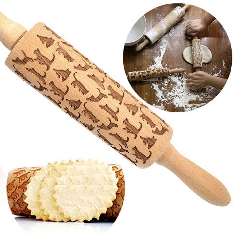 94851406 34cm Wooden Rolling Pin, Cats Pattern Laser Embossing Rolling Pin, Engraved  Rolling Pin, Wooden Rolling Pin, Housewarming gift: Amazon.co.uk: Kitchen &  Home