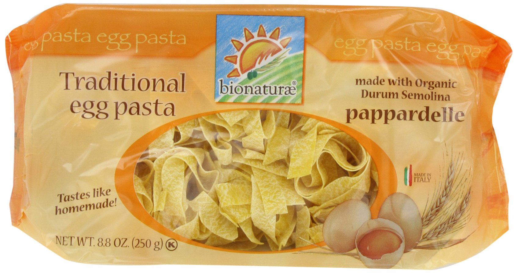 bionaturae With Organic Durum Semolina Pappardelle Egg Pasta, 8.8 Ounce Bags (Pack of 6)