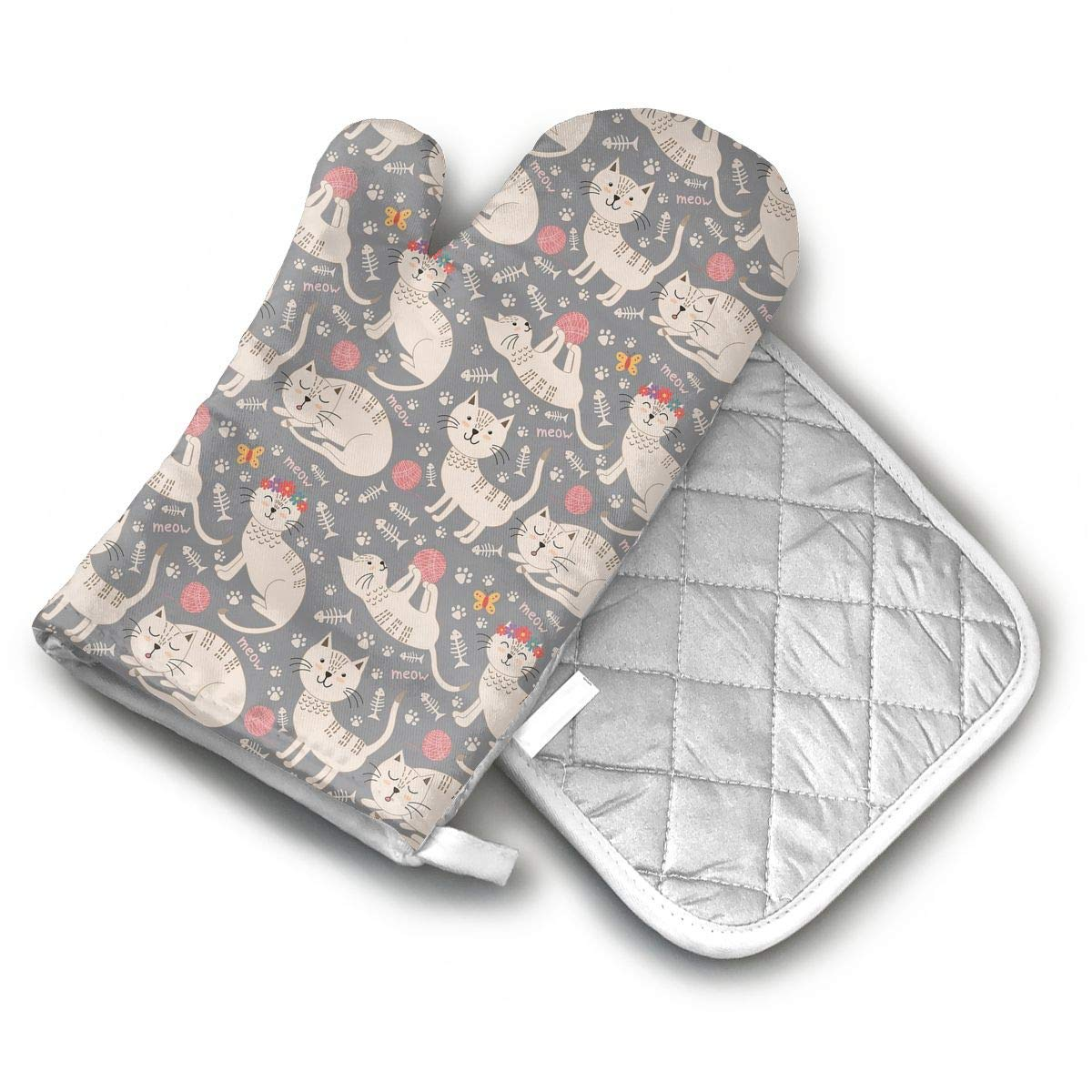 TEDISMC Oven Mitts and Potholder Cute Cat and Wool Heat Resistant Oven Gloves Non-Slip Oven Pad for Cooking
