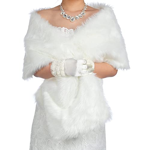 Dresstells®Mujer Chal Estola Bufanda De Piel Sintéica Para Vestido De Fiesta Boda Invierno 165cmX30c...