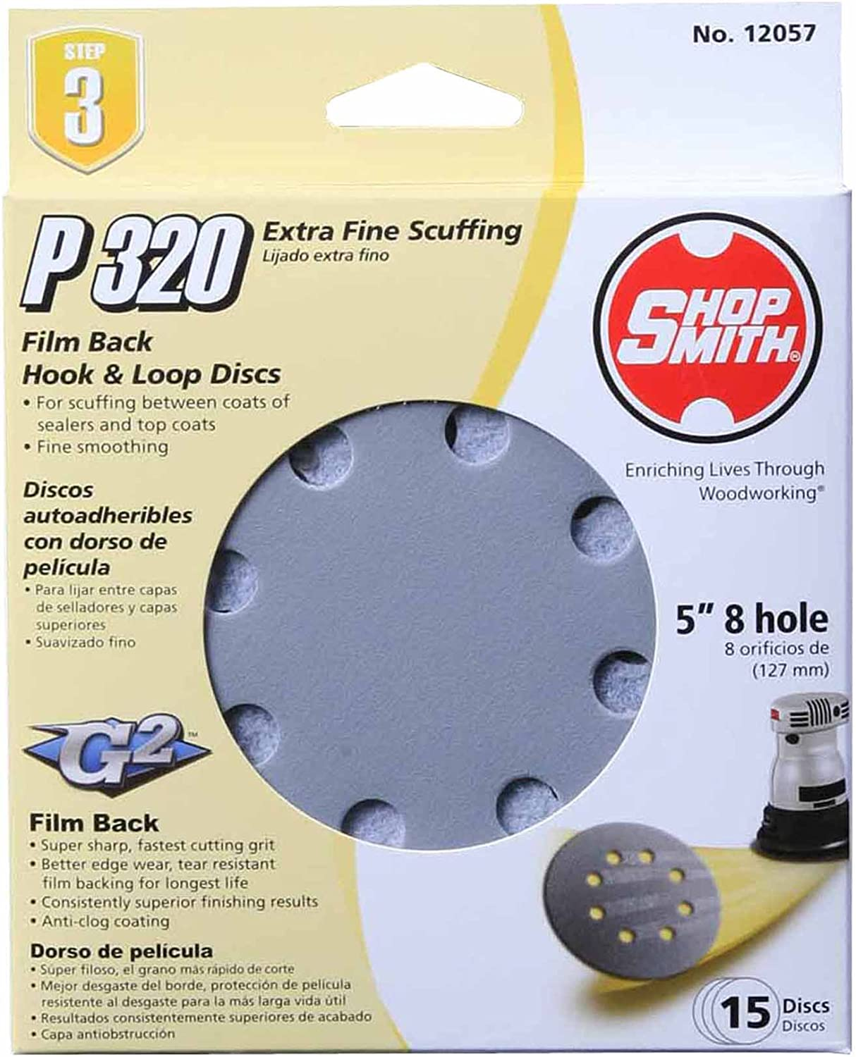 ALI INDUSTRIES 12057 8 Hole 320 25 CT Grit Disc, 5-Inch, 15-Pack