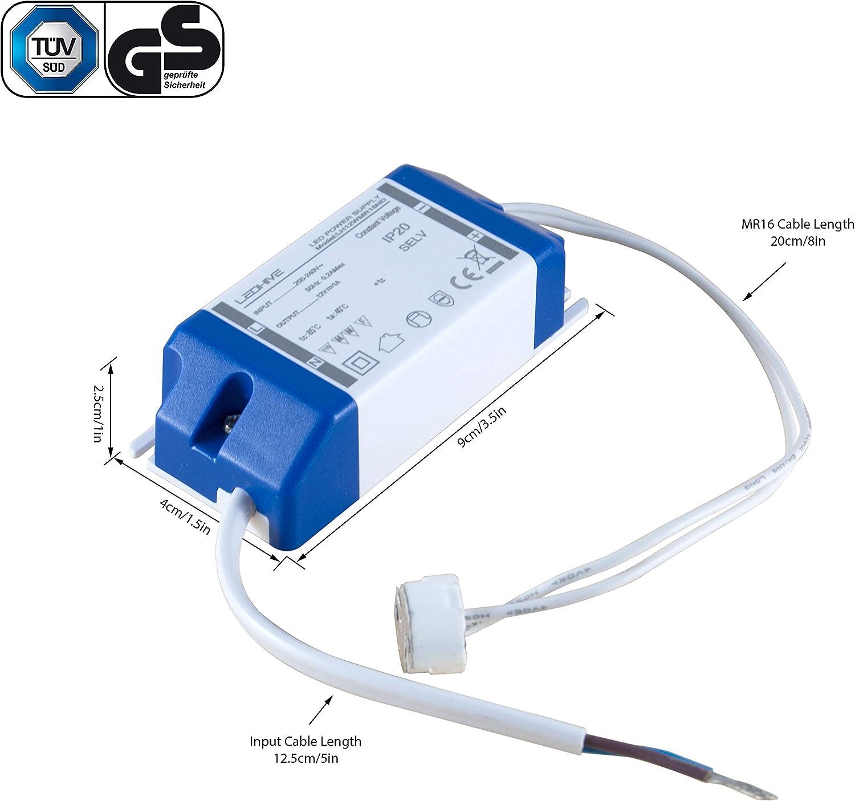 Transformador de luz LED, de 240 a 12 V CC/0,5-12 W, con conector MR16 incluido y sin interferencias con WiFi o DAB: Amazon.es: Hogar
