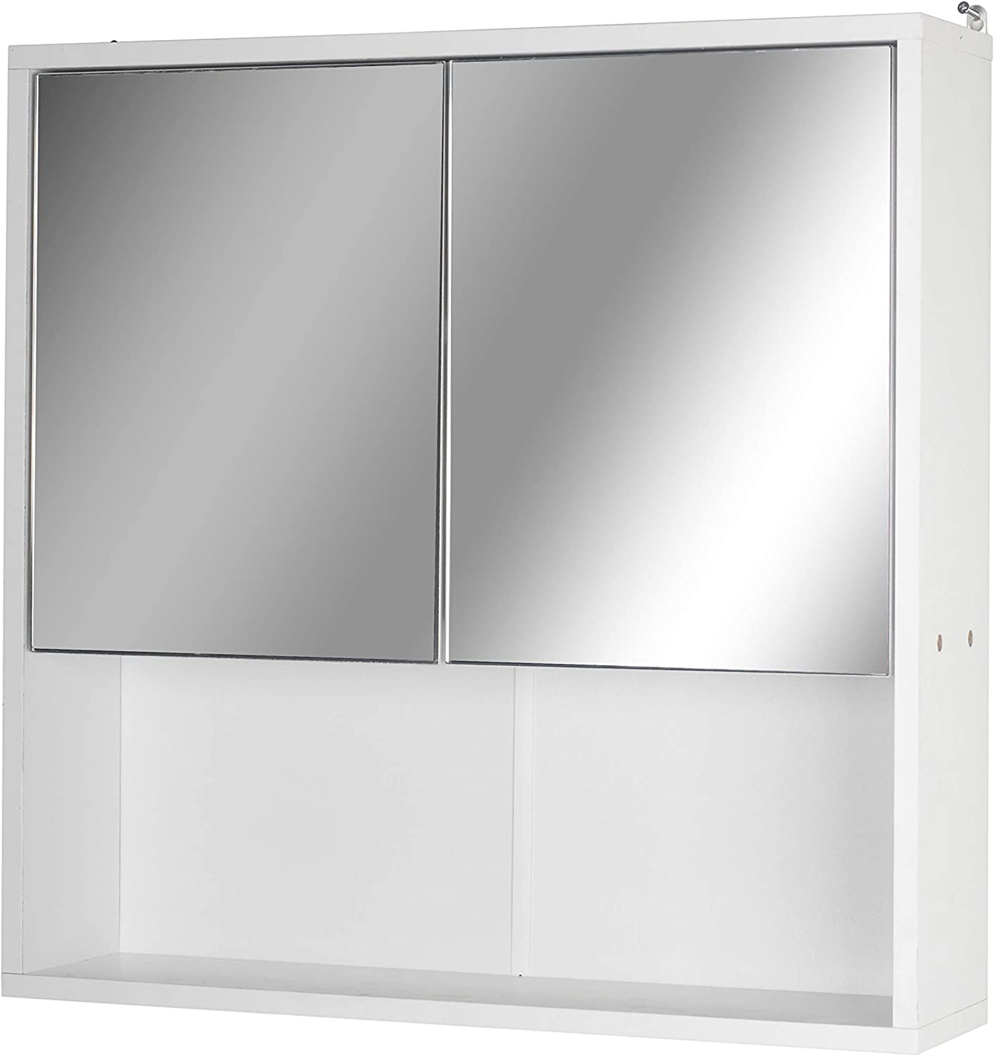 Urbn-Living White Wooden Wall Mounted Mirror Door Bathroom Cabinet (2 Half Doors)