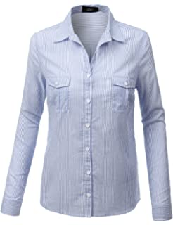 c634adcb LE3NO Womens Lightweight Striped Button Down Shirt with Adjustable Sleeves