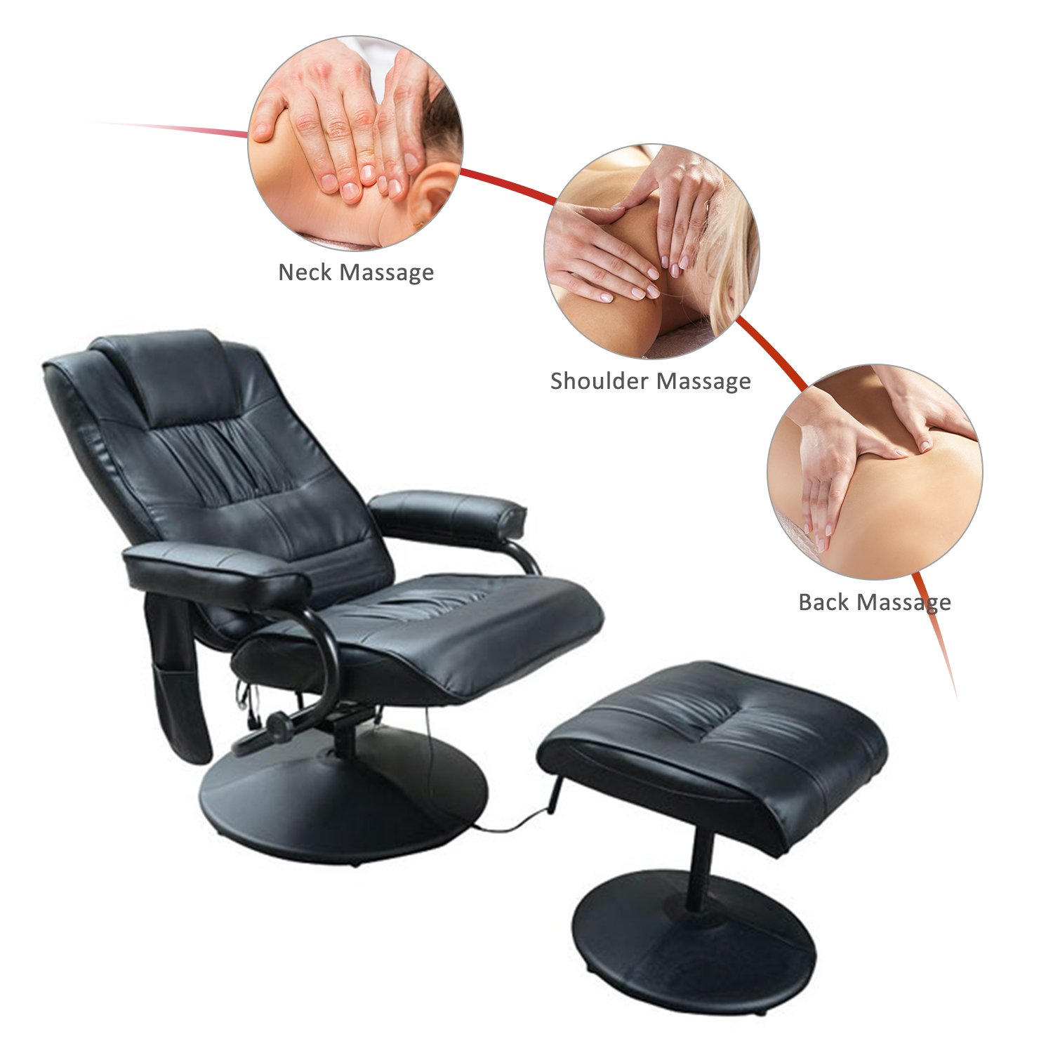 Hom Deluxe Faux Leather Massage Recliner Chair Easy Sofa