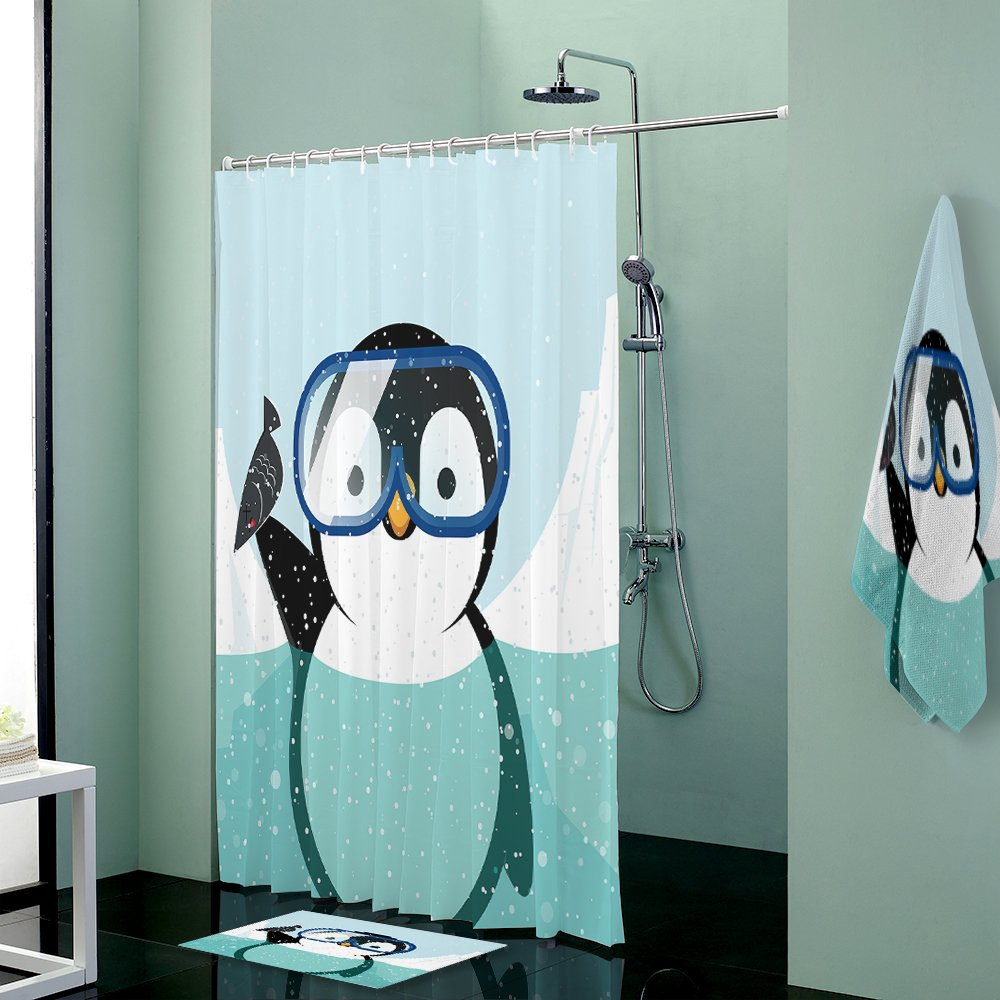 Beauty Decor Waterproof Shower Curtain with Rugs mat Bath Towels,Funny Penguin Diving for Bathroom Accessory Set