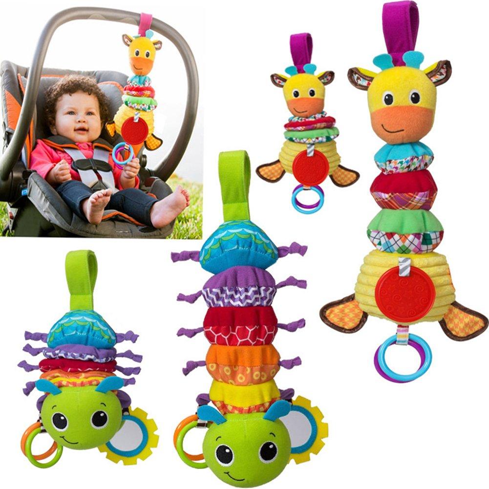 赤ちゃん漫画Stuffed Animal Soft Toys、Plush Hand Rattleおもちゃ、Rattleおもちゃ、ベビーカーおもちゃ( 2つのセット)   B077Z7SZ2Z