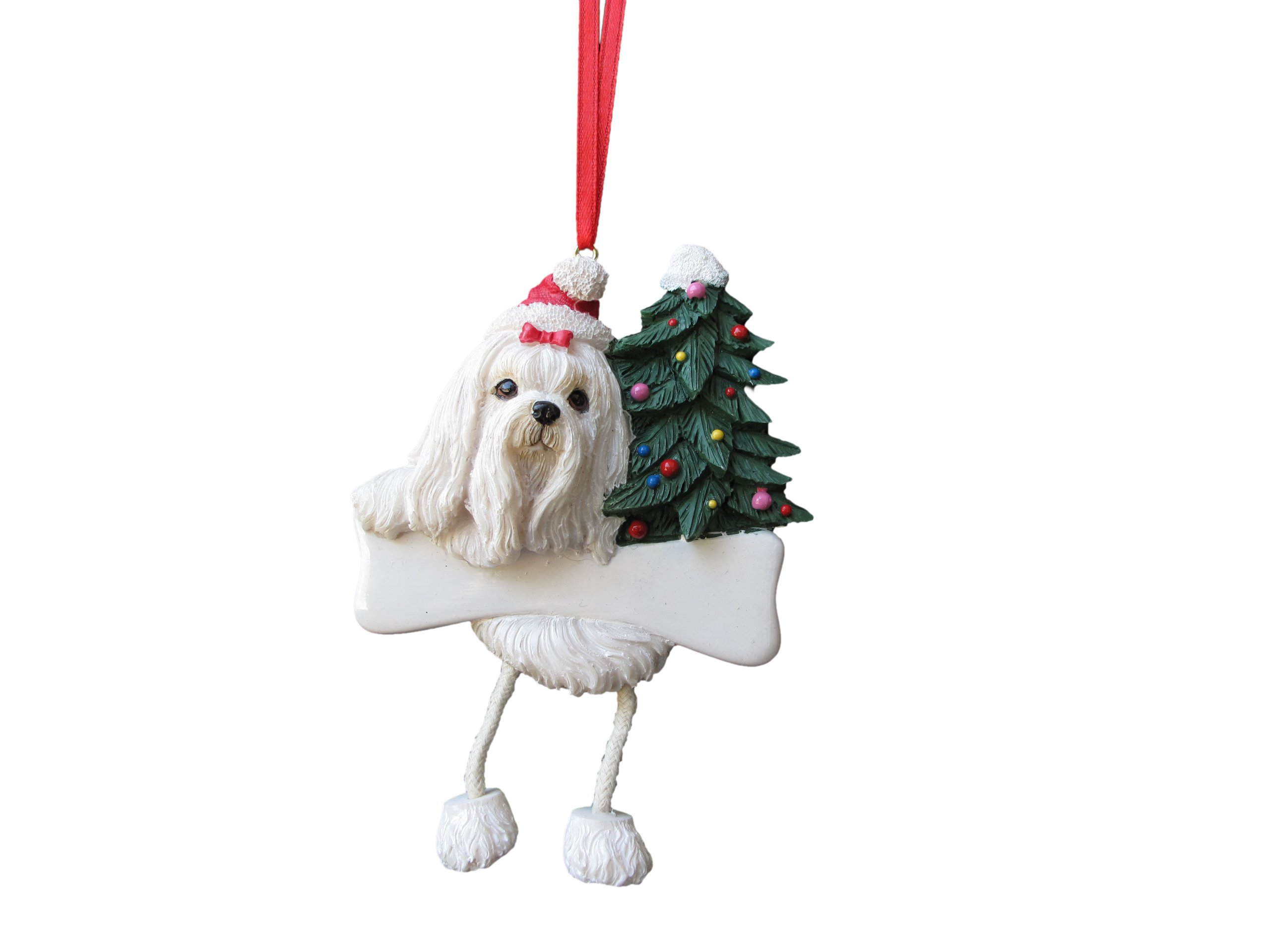 Maltese christmas ornaments - Maltese Ornament With Unique Dangling Legs Hand Painted And Easily Personalized Christmas Ornament