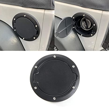 Black Fuel Filler Door Cover Gas Tank Cap Car Accessories for 2007-2017 Jeep Wrangler JK /& Unlimited 4 Door 2 Door Sport Rubicon Sahara DEALPEAK Gas Cap Cover for Jeep Wrangler Black