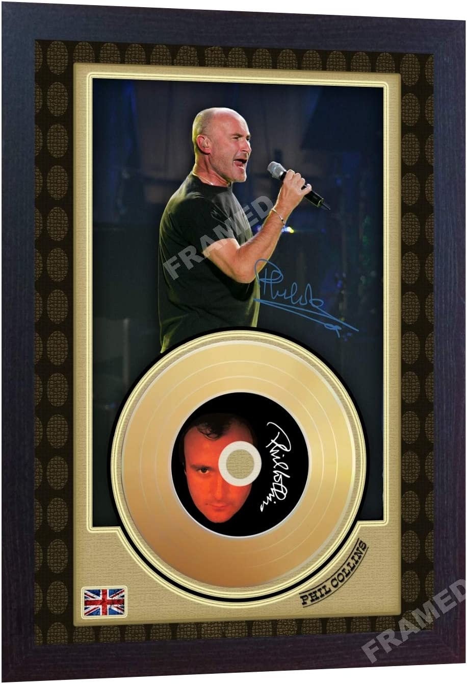 SGH SERVICES Phil Collins Mini Gold Vinyl CD Record Signed Framed Photo Print