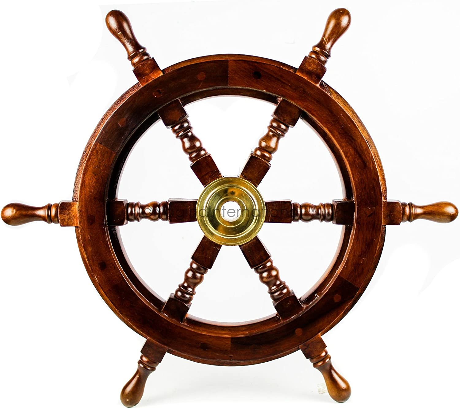 Nagina International Premium Nautical Handcrafted Wooden Ship Wheel | Pirate's Wall Home Decor & Gifts (30 Inches, Dark Rosewood)