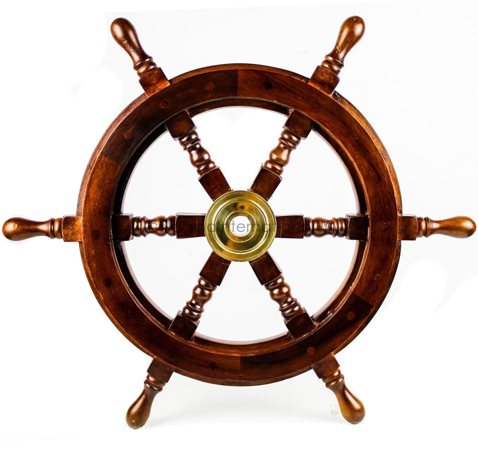 Premium Nautical Handcrafted Wooden Ship Wheel | Pirate's Wall Home Decor & Gifts | Nagina International (42 Inches, Dark Rosewood) by Nagina International