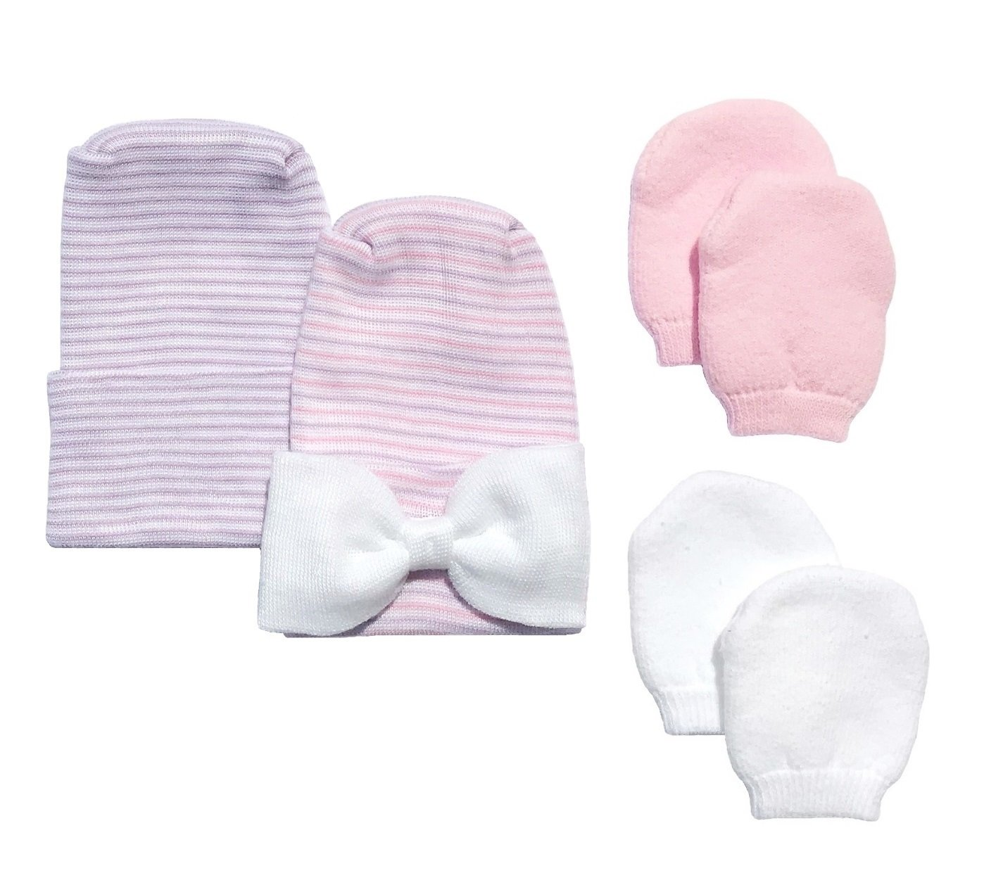 Amazon.com   Newborn Baby 2 Pack Purple   Pink Bow Hat Set with 2 Pairs of  Mittens by Nurses Choice   Baby ff76e00b004