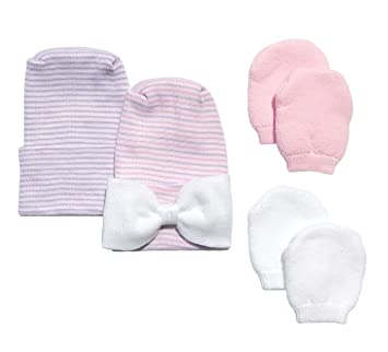 510a01d5c1e Amazon.com   Newborn Baby 2 Pack Purple   Pink Bow Hat Set with 2 ...