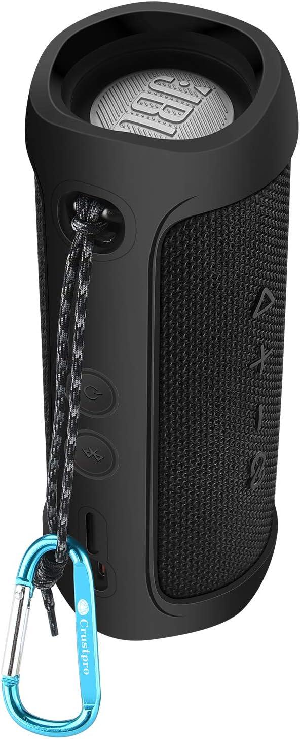 Noir Eyglo Etui en Silicone pour JBL Flip 5 Haut-Parleur Bluetooth Housse de Protection Sac de Transport pour la Randonn/ée Camping avec Mousqueton