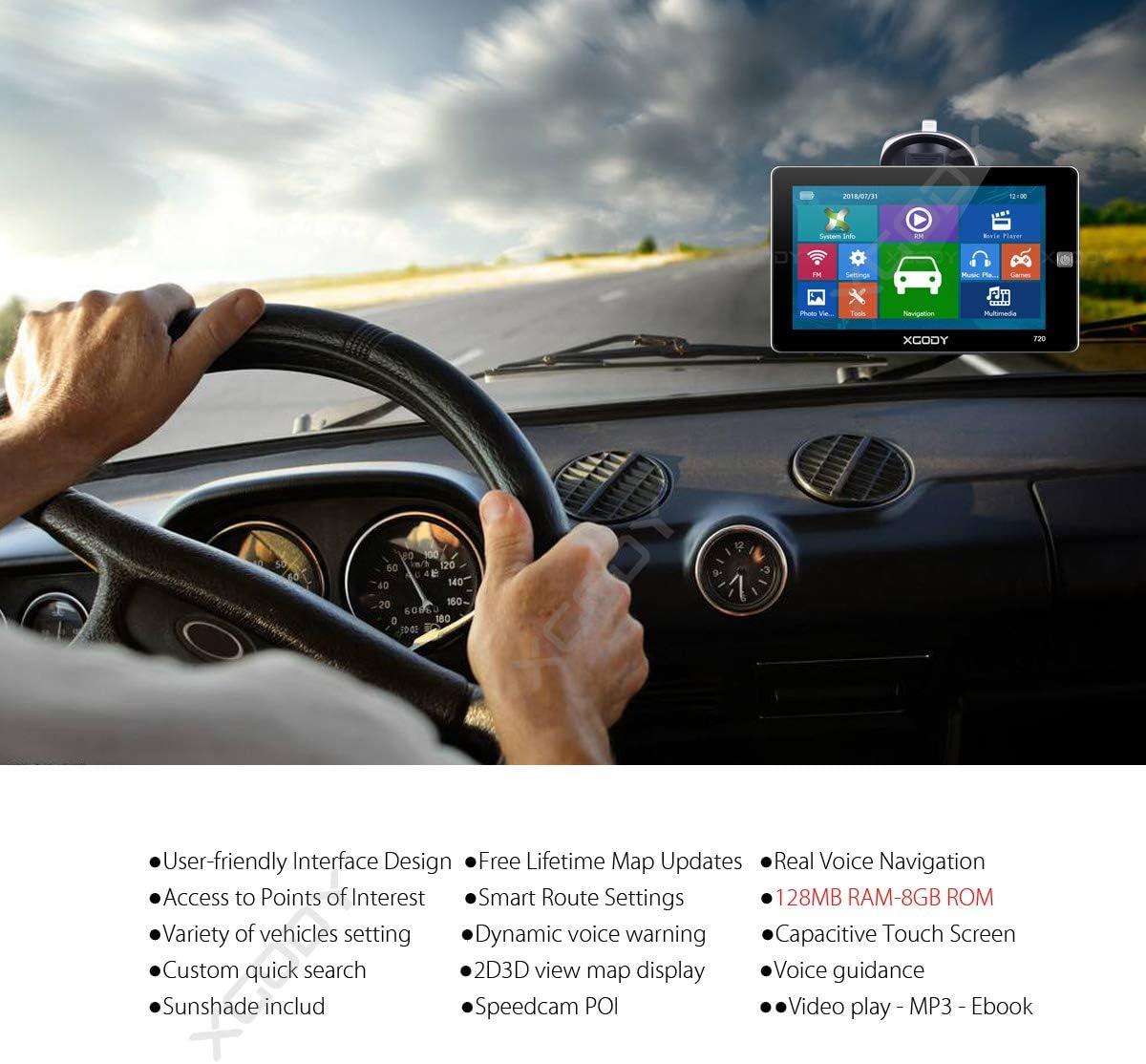 Xgody 720F GPS Navigation pour Voiture Xgody 5 HD /Écran Tactile HGV GPS Syst/ème avec rep/ères Spoken Turn by Turn Directions Recherche Poi Free Lifetime UK//Ireland Maps Update