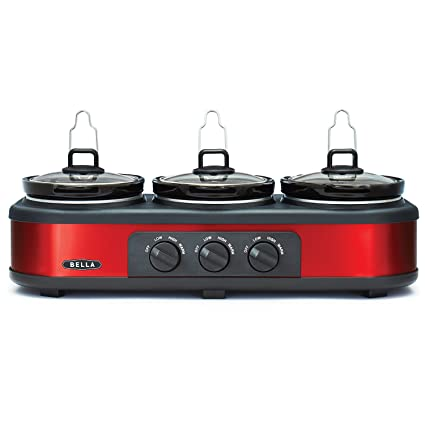 amazon com bella triple slow cooker and buffet server 3 x 1 5 qt rh amazon com triple slow cooker buffet recipes bella triple slow cooker buffet and serve