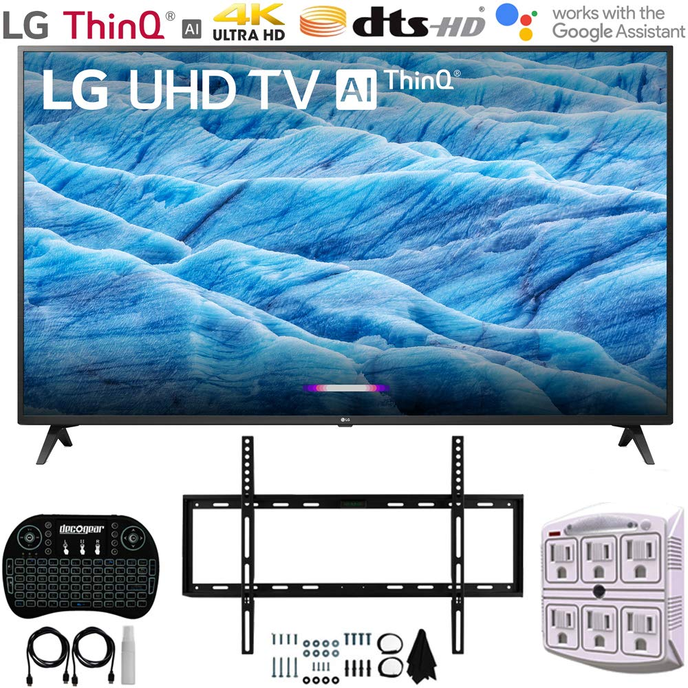 LG 43UM7300PUA 43'' 4K HDR Smart LED IPS TV w/AI ThinQ (2019) + Slim Flat Wall Mount Ultimate Bundle + 2.4GHz Wireless Keyboard Smart Remote w/Touchpad + 6-Outlet Surge Adapter w/Night Light by LG