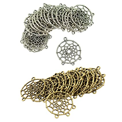 120pcs Dreamcatcher Connector Charms Feather Pendants Craft Jewelry Findings