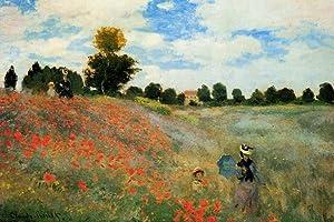 Claude Monet Poppies Art Print Poster - 24x36 Poster Print by Claude Monet, 36x24 Artists Poster Print by Claude Monet, 36x24