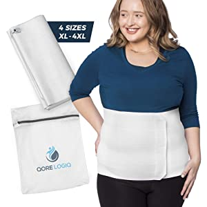 QORE LOGIQ Plus Size Abdominal Binder Post Surgery for larger Men + Women - Postpartum Belly Band - Compression Garment - Hernia Belt For Men + Woman - C Section Belly Binder - Adjustable (White 4XL)
