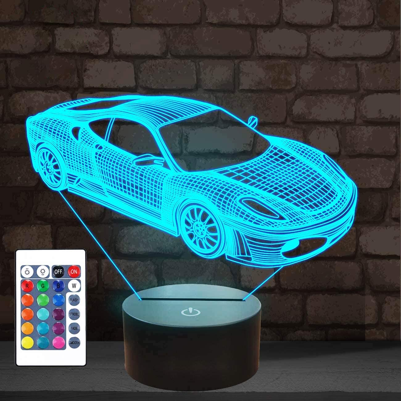 Car 3D Night Light, Sport Racing Car Illusion Lamp with Remote Control 16 Colors Changing, Holiday Xmas Birthday Gifts for Kids Child Teen Todder