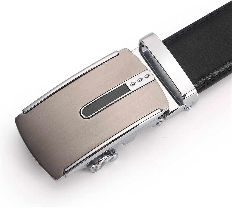 Wanyesta Men Cowhide Genuine Leather Belts Automatic Ratchet Buckle Waist Belt