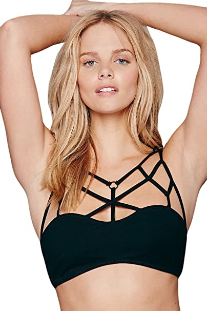 c8bceea46c6 VamJump Women Sexy Criss Cross Strappy Bralette Seamless Sports Bra S Black