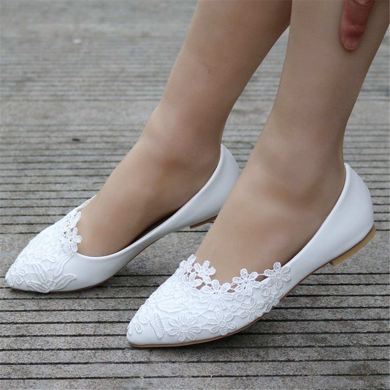 Sunonvi Ballerines Blanc Dentelle Chaussures de Mariage /à Talon Plat Chaussures de Sport Bout Pointu Femmes Mariage Princesse Appartements Plus la Taille