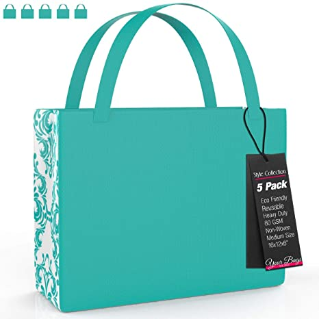 best cheap good looking cheap Reusable Stylish Tote Bags, 5 Pack - Tiffany Blue Damask Pattern Medium  Sized Carrying Bag for Shoes, Groceries, Accessories – Lightweight for  Travel ...