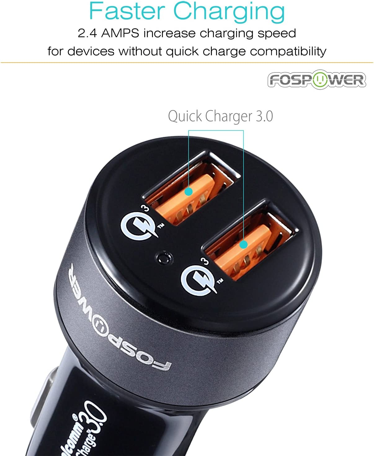 and More Samsung Galaxy S20 FosPower USB Car Charger UL Listed 36W Fast Charging Qualcomm 3.0 Quick Charge Dual USB Smart Ports with LED Light Compatible with iPhone 11 Pro Max Google Pixel 4 XL