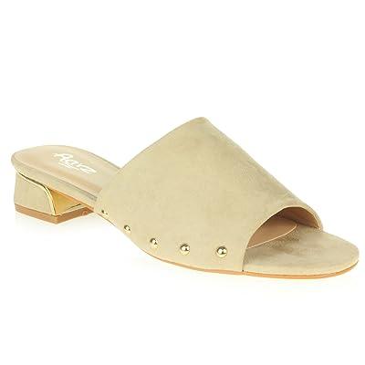 AARZ LONDON Femmes Dames Mule Décontracté Open Toe Doux Moyen Bloquer le Talon Glisser Sur Fête des Sandales Chaussures Taille
