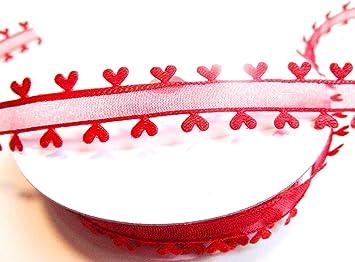 15m Herzband Band Dekoband Herzen Herz Weiß Hochzeit Geschenkband