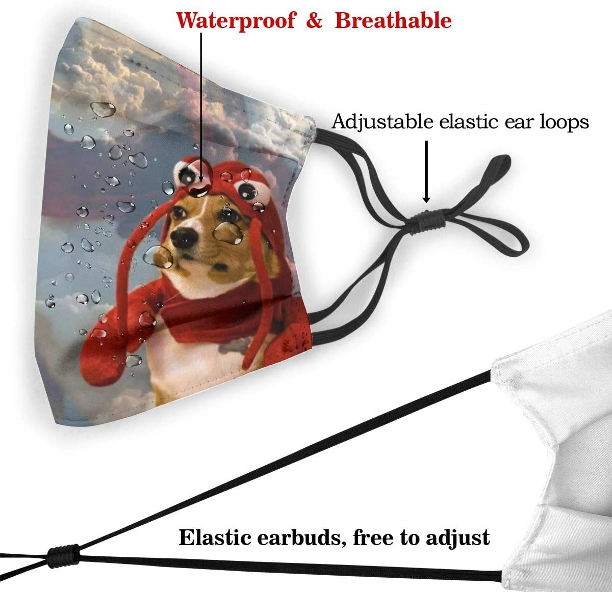 Airedale Terrier Christmas Dog Men Insert Face Cloths Replaceable Protective Cover With Adjustable Earloop Breathable Filter Face Cover