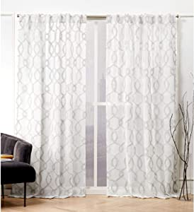 Nicole Miller Soft Trellis Curtain Panel, 54x84, Dove Grey, 2 Panels