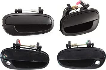 Left Outside Door Handles Set Rear Smooth Black Front Right
