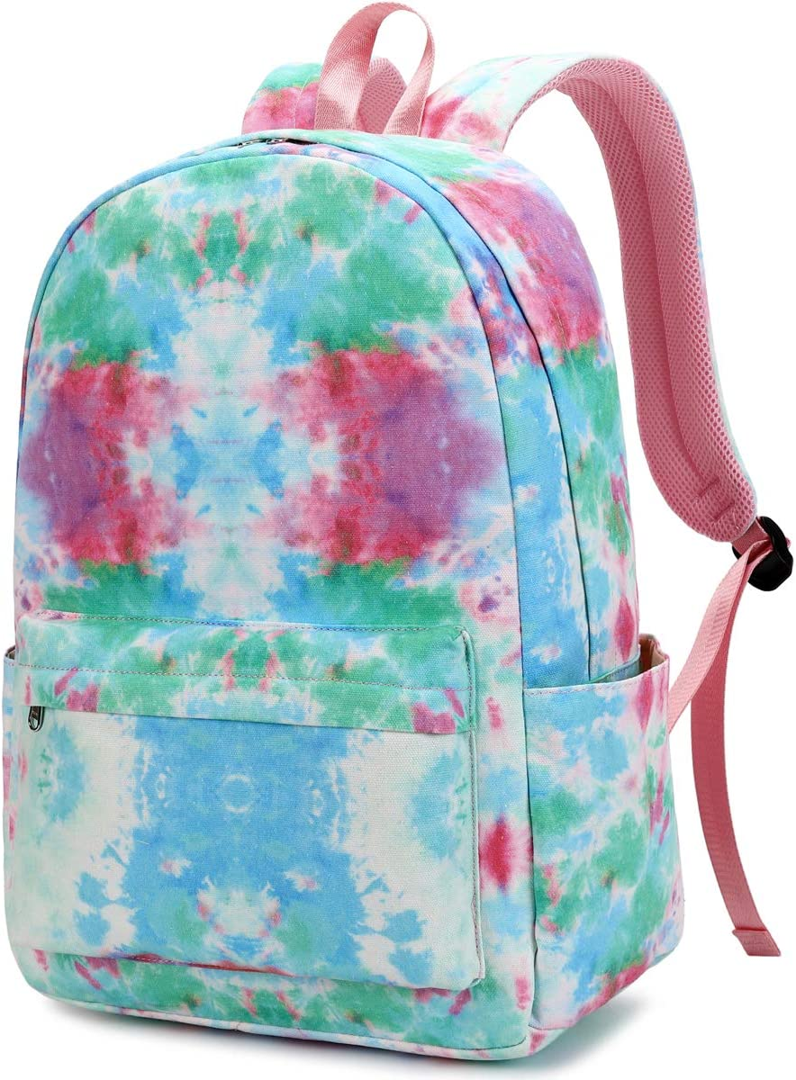 CAMTOP School Backpack Women Girls Bookbag Tie Dye Water Resistant Laptop College Backpack (Y878-ColorfuI)