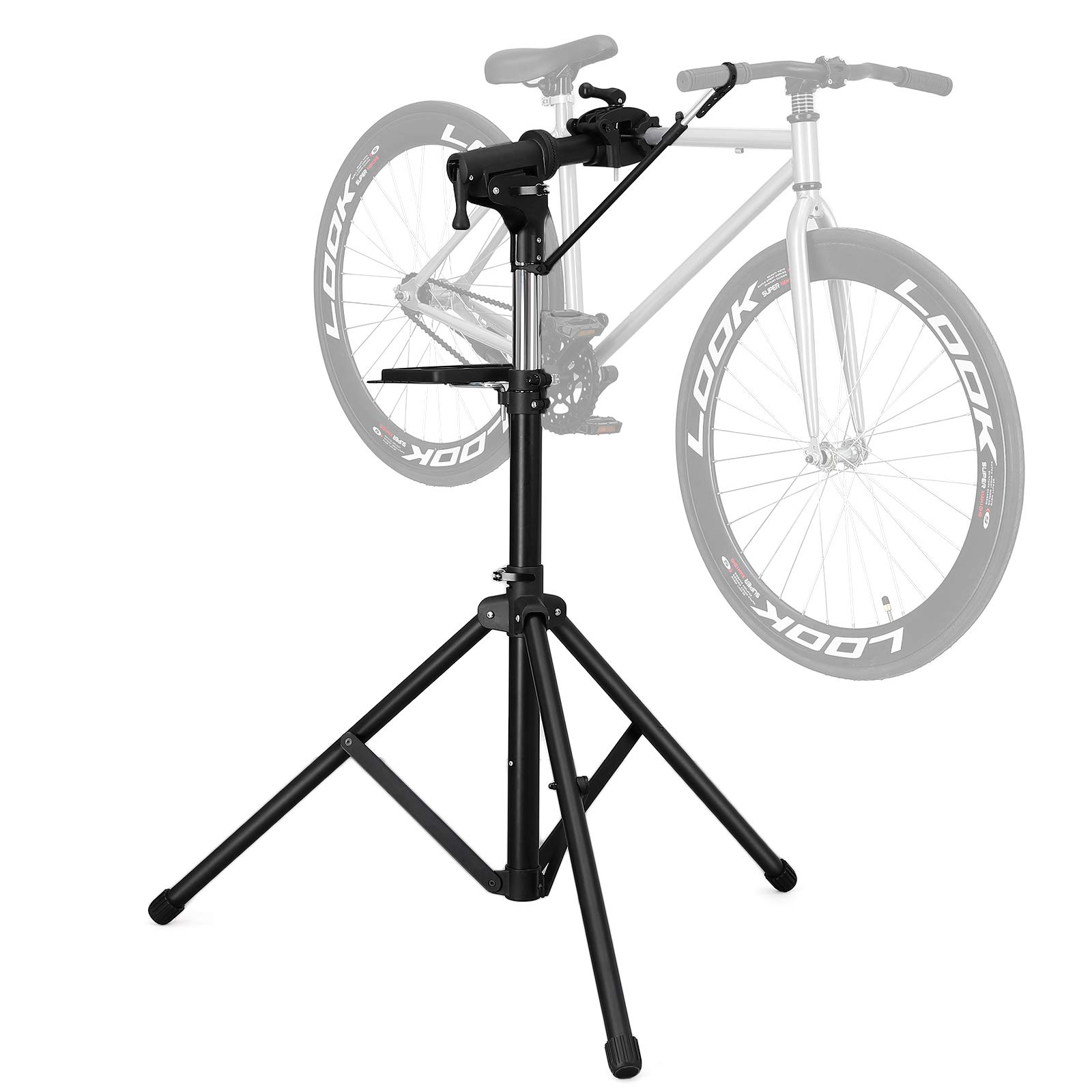 SONGMICS Bike Repair Stand with Aluminum Alloy Arm, Large Tool Tray, Full Features Stronger & Durable, Portable, Compact USBR03B