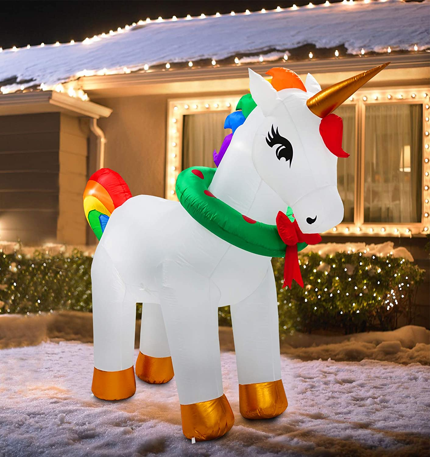 B.N.X 7Ft Inflatable Unicorn Decorations for Xmas Light Up for Yard