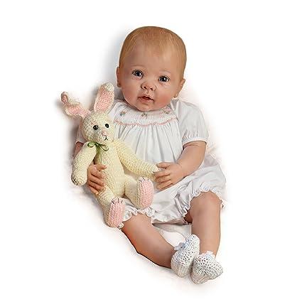 The Bradford Exchange - Abrazos de conejito - Muñeca bebé apariencia real - Con peso y