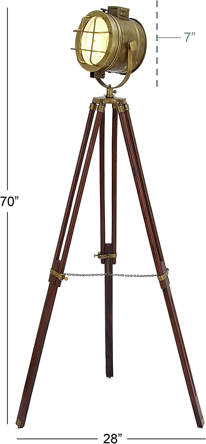 28 W-46666 One Size Deco 79 46666 Brass Wood Studio Light 70 H Aged Bronze