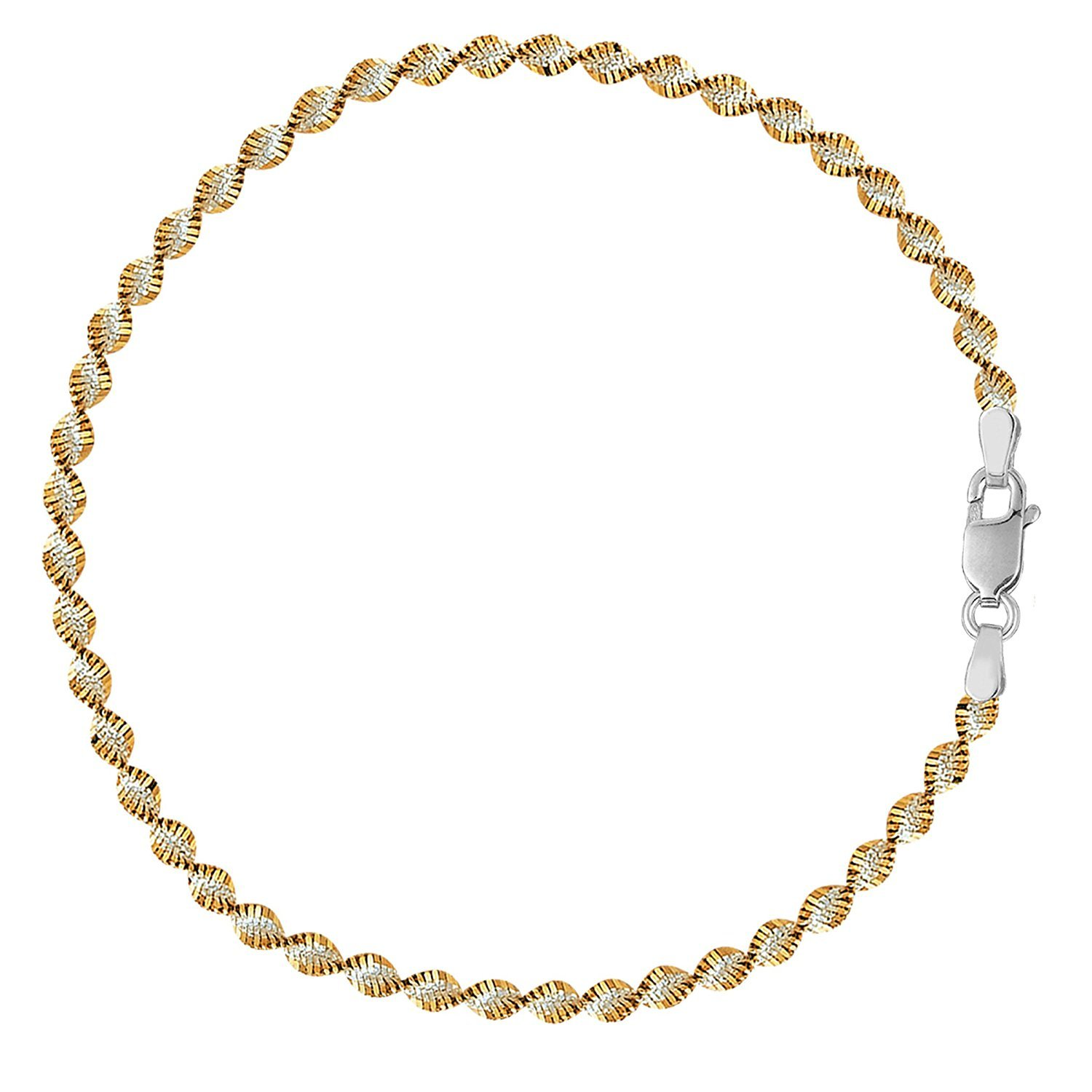 MCS Jewelry Sterling Silver Singapore Style Chain Anklet In White And Yellow (9''-11'') (9)