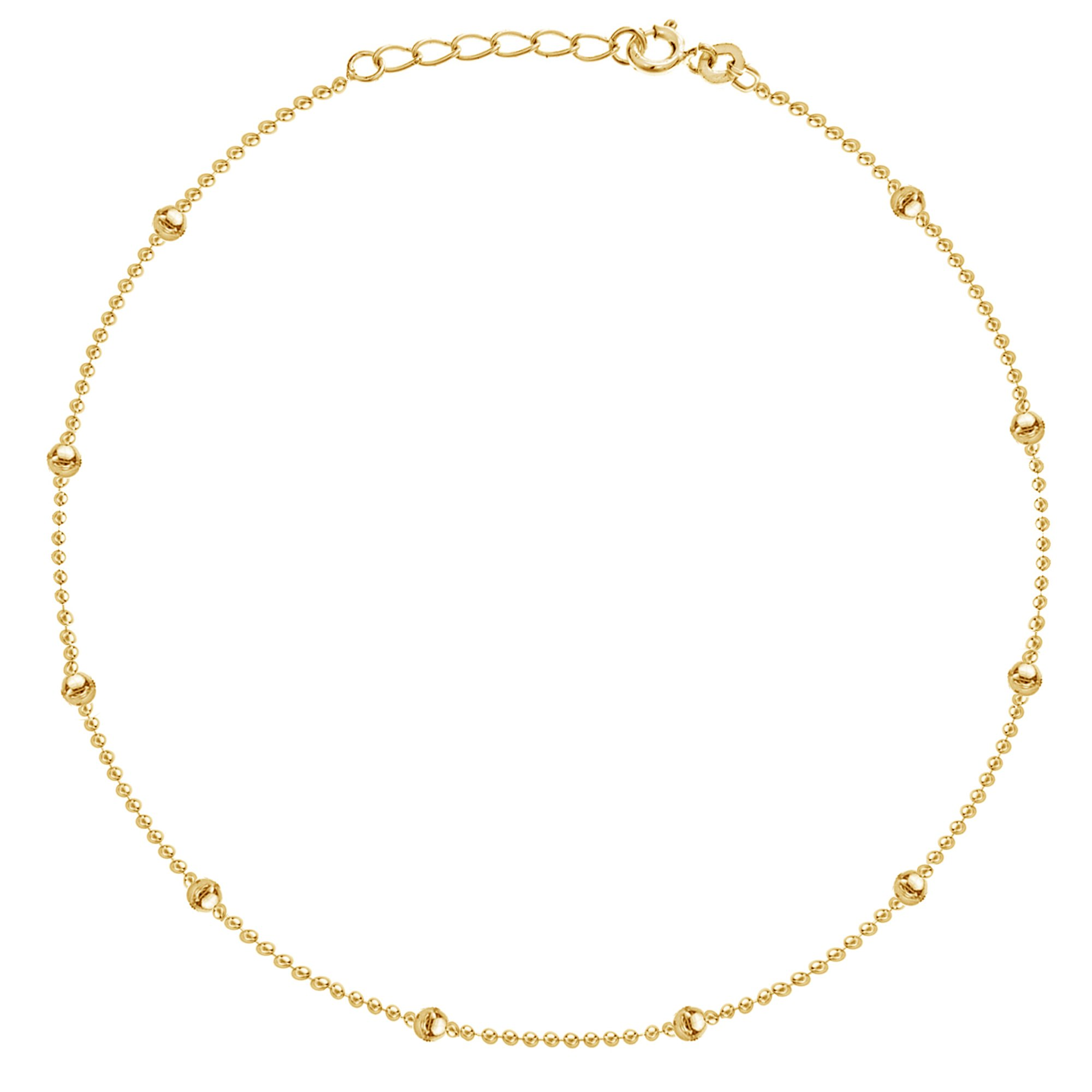 14k Yellow Gold Bead Adjustable Anklet Ankle Bracelet 9-10 Inches