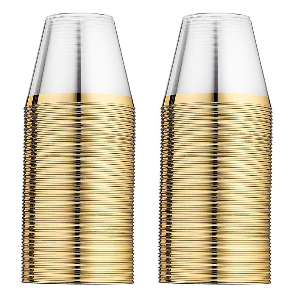 100 clear plastic cups gold rim ~ Fancy wedding party cups ~ 9 ounce ~ Disposable & recyclable ~ Heavy duty ~ Old fashioned bar tumblers w/gold trim