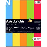 """Astrobrights Color Paper, 8.5"""" x 11"""", 24 lb / 89 gsm, """"Cheerful"""" 5-Color Assortment, 500 Sheets"""