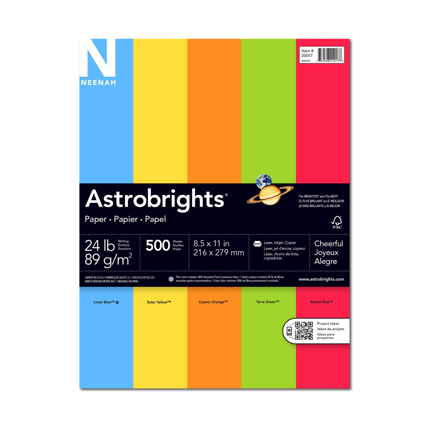 Wausau Astrobrights Heavy Duty Paper, 24 lb, 8.5 x 11 Inches, 5 Color Assortment, 500 Sheets (20017) by Neenah